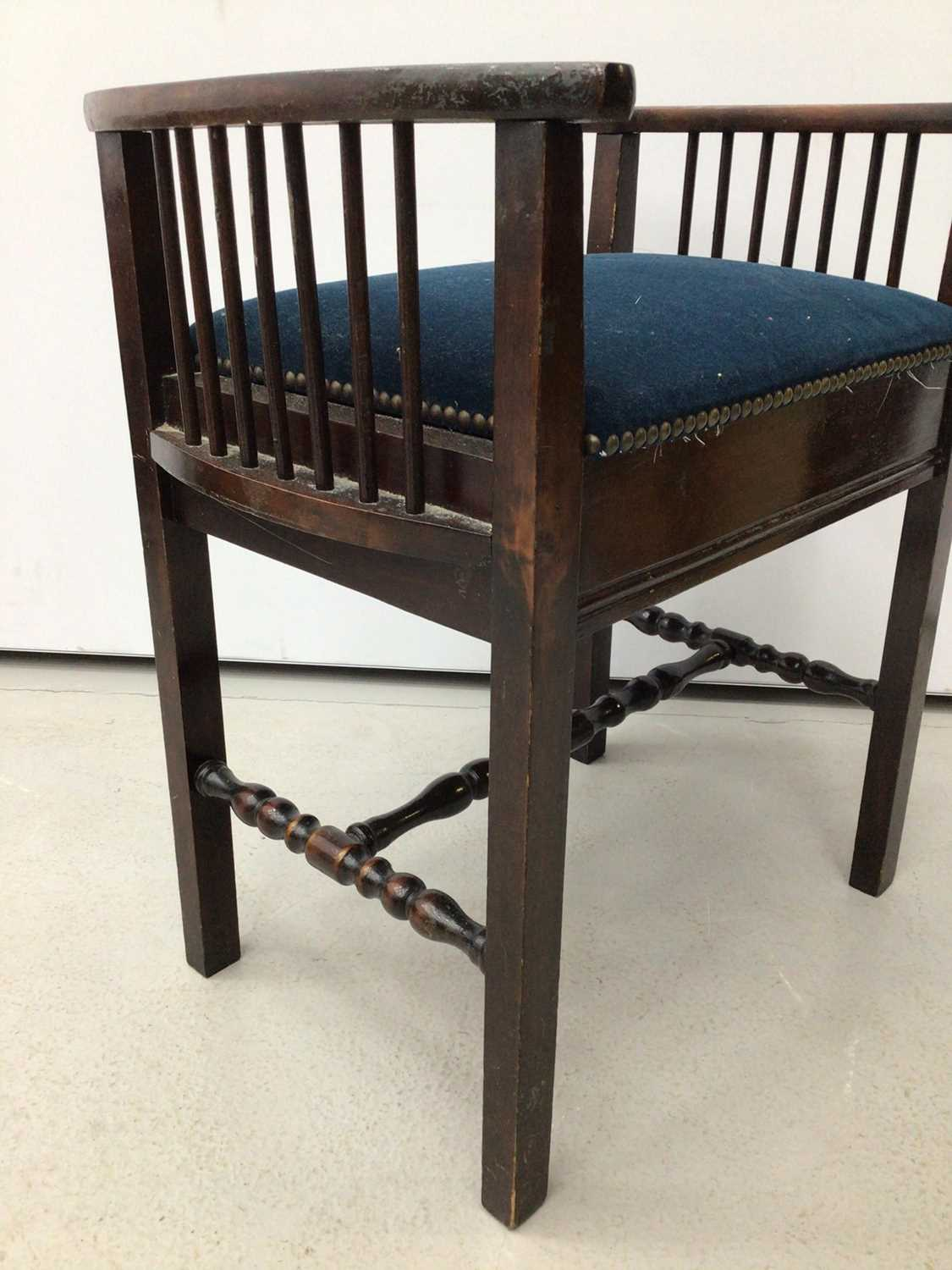 Victorian mahogany piano stool with blue upholstered seat on tripod base and a tiled top table and a - Image 2 of 13
