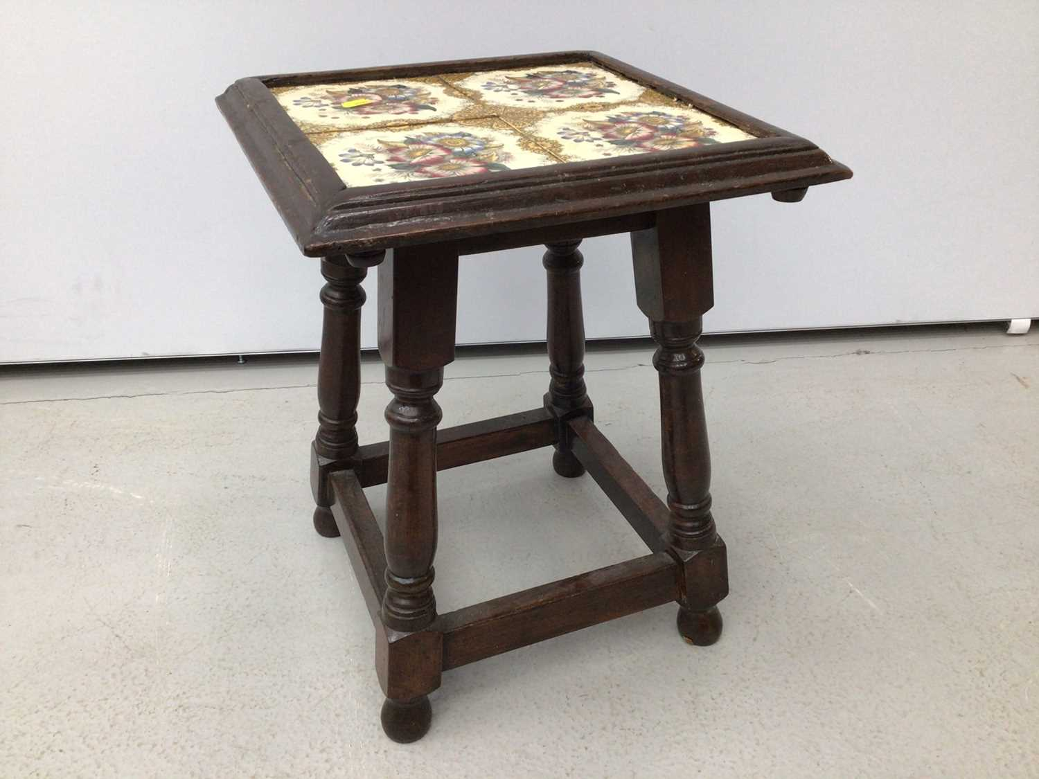 Victorian mahogany piano stool with blue upholstered seat on tripod base and a tiled top table and a - Image 11 of 13