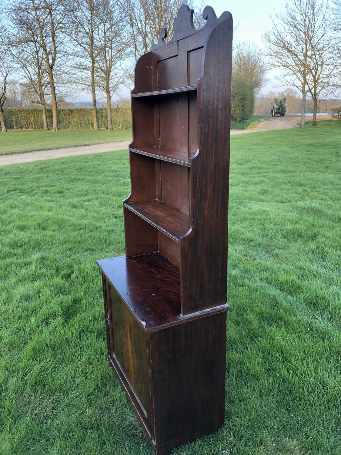 19th century mahogany and grained waterfall bookcase with scrolling top rail and graduated open shel - Image 2 of 7
