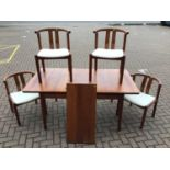 Mid century Danish Glostrup teak extending dining table approx 120cm x 90cm with two extra leaves 42