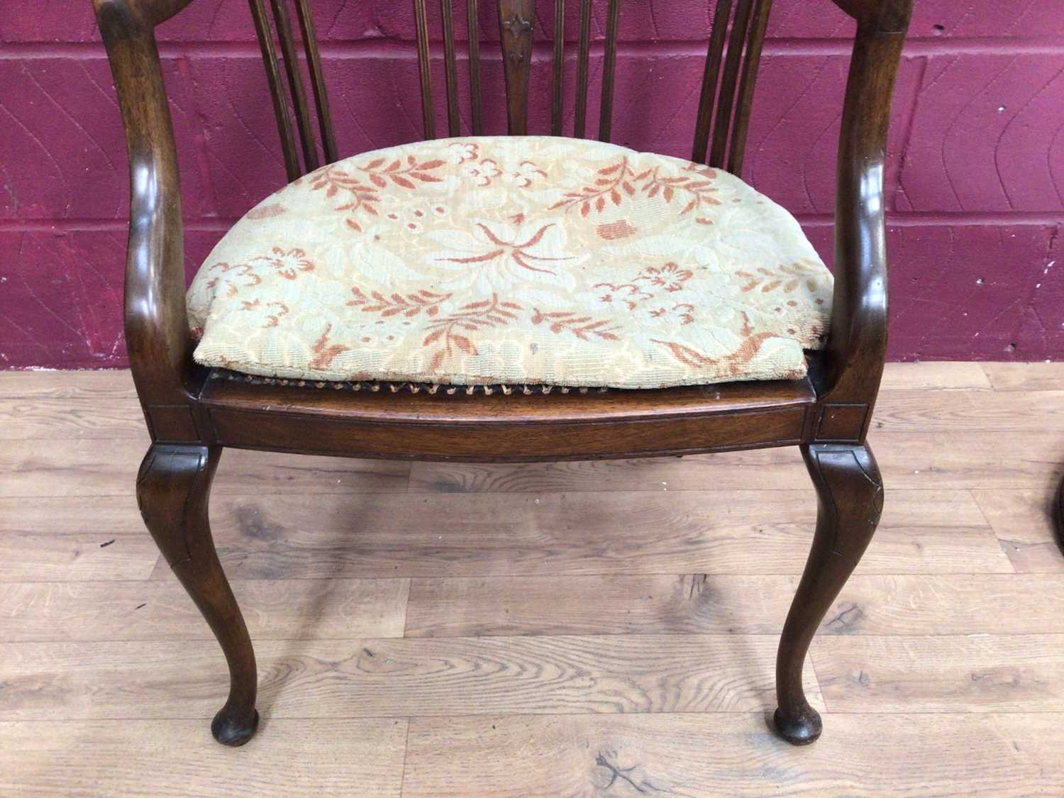 Edwardian mahogany tub chair with caned seat and a mahogany framed oval wall mirror (2) - Image 2 of 6
