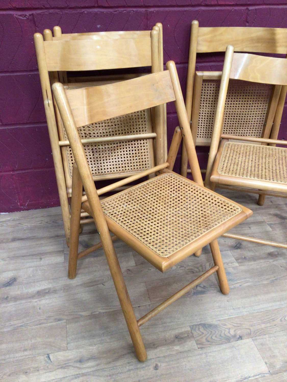 Six beech folding chairs with cane seats - Image 5 of 9