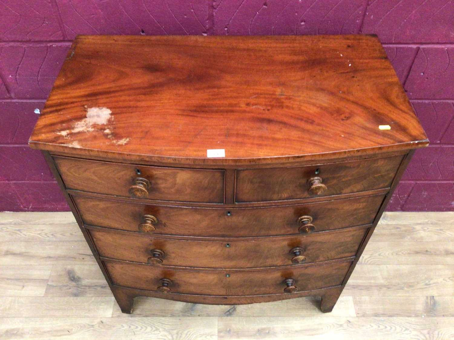 19th century mahogany bowfront chest of two short and three long graduated drawers - Image 2 of 5