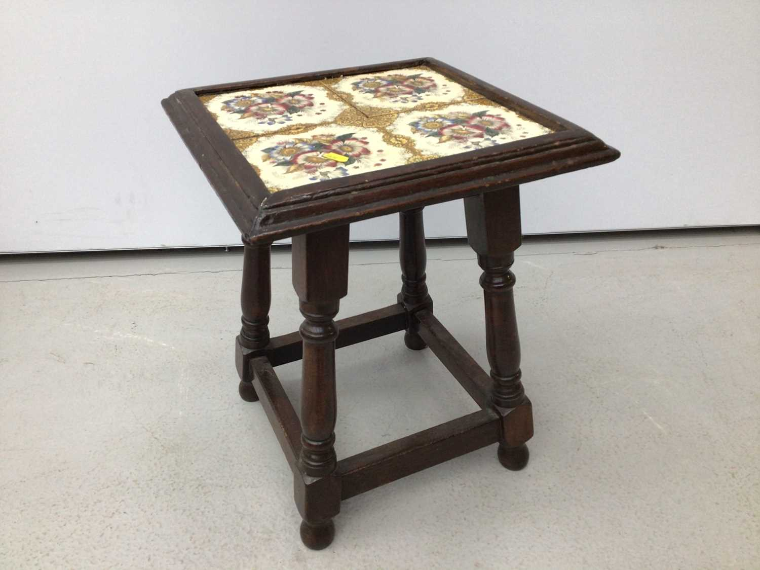 Victorian mahogany piano stool with blue upholstered seat on tripod base and a tiled top table and a - Image 8 of 13