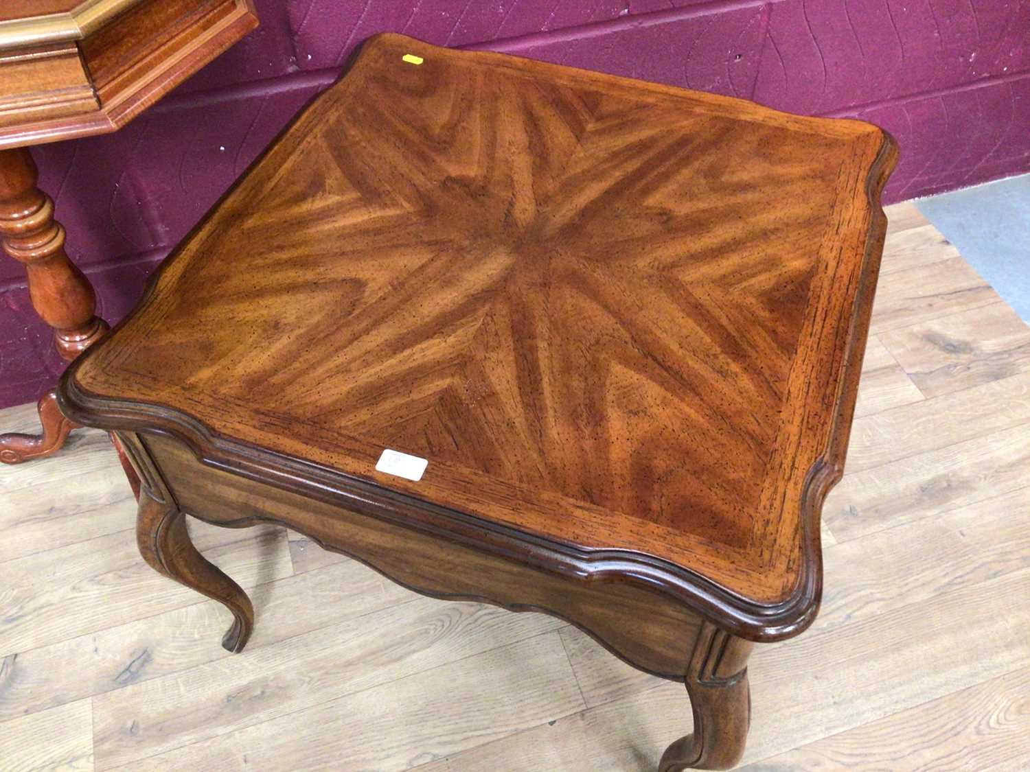 Italian inlaid marquetry table, low coffee table of square form with draw and a mirror (3) - Image 4 of 5