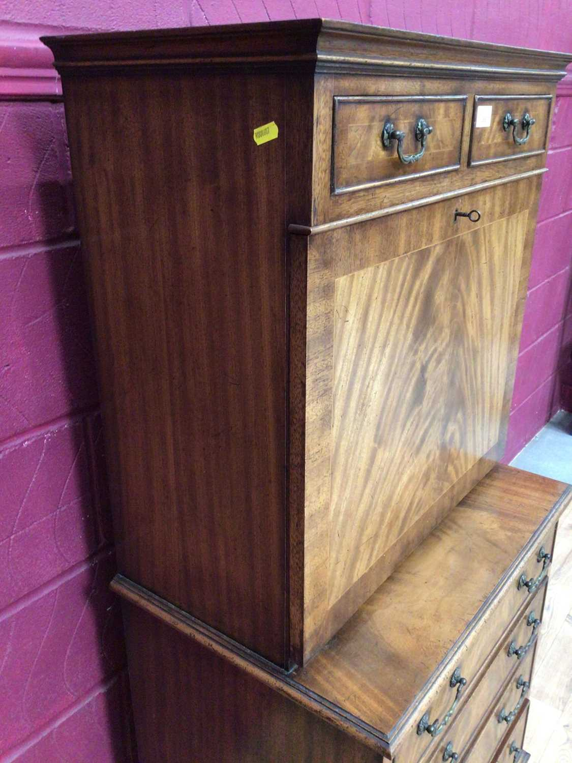 Good quality Georgian style mahogany secretaire chest with two top drawers, fall front with fitted i - Image 8 of 9