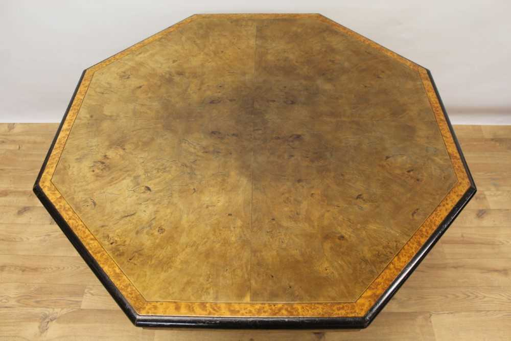 Victorian walnut octagonal centre table with burr wood crossbanding, on turned supports - Image 2 of 5