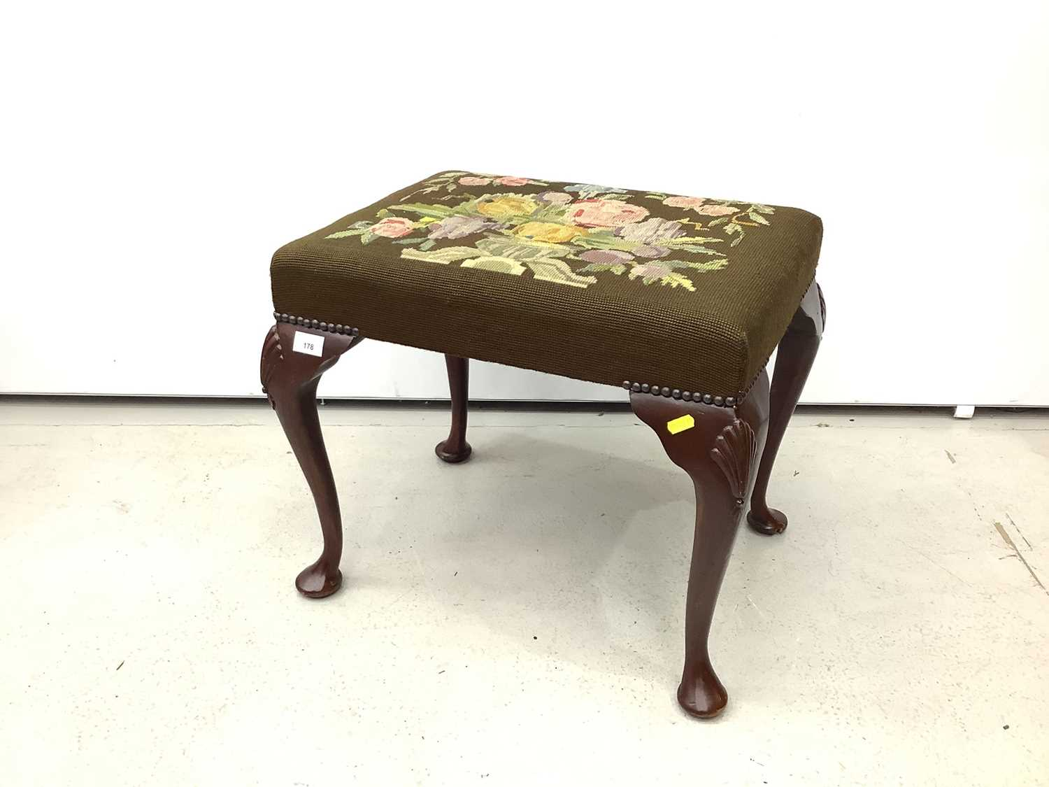 Good quality mahogany stool with floral tapestry seat on cabriole legs with shell knees, 52cm wide x