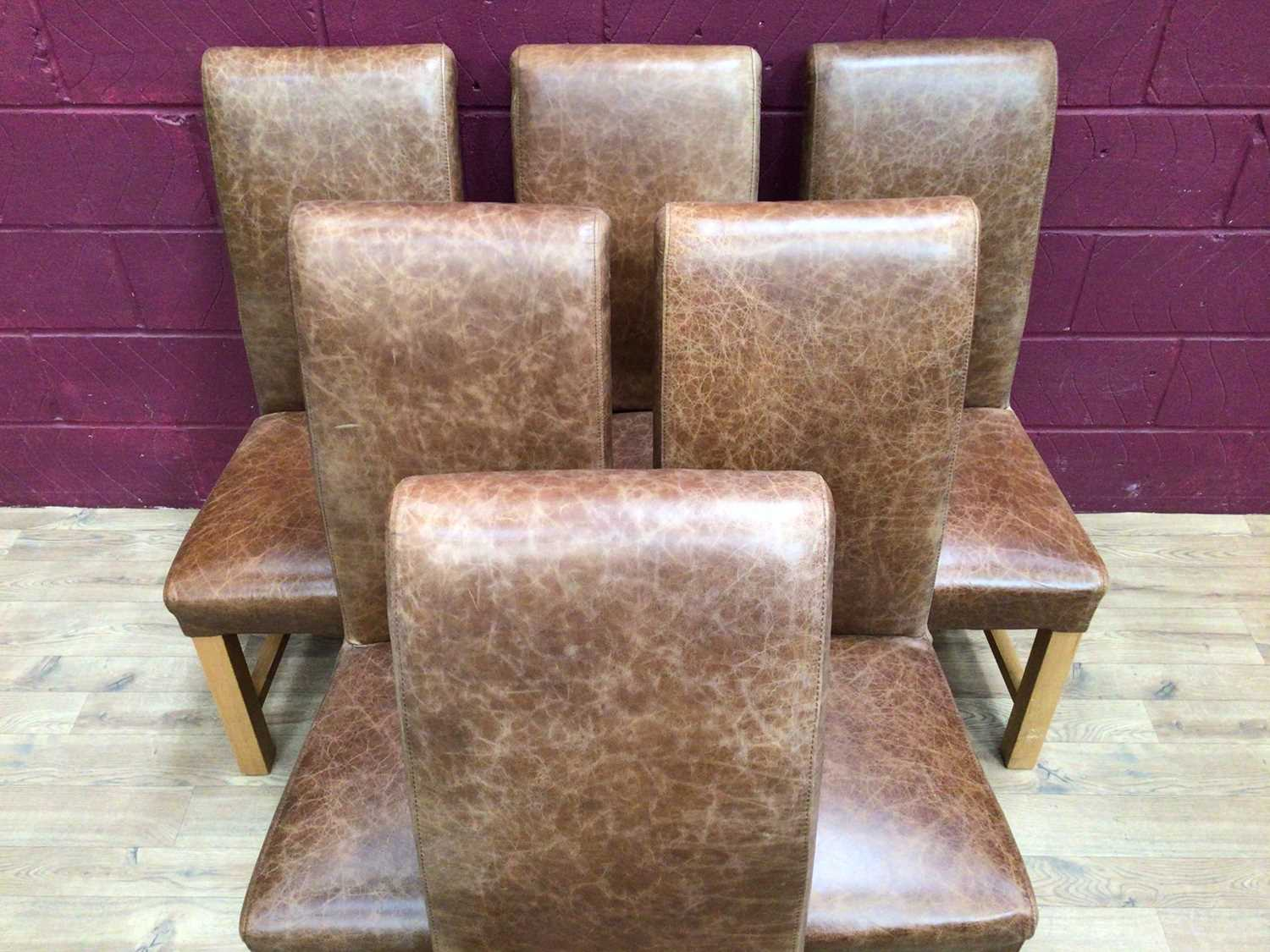 Set of six contemporary leather dining chairs - Image 3 of 5