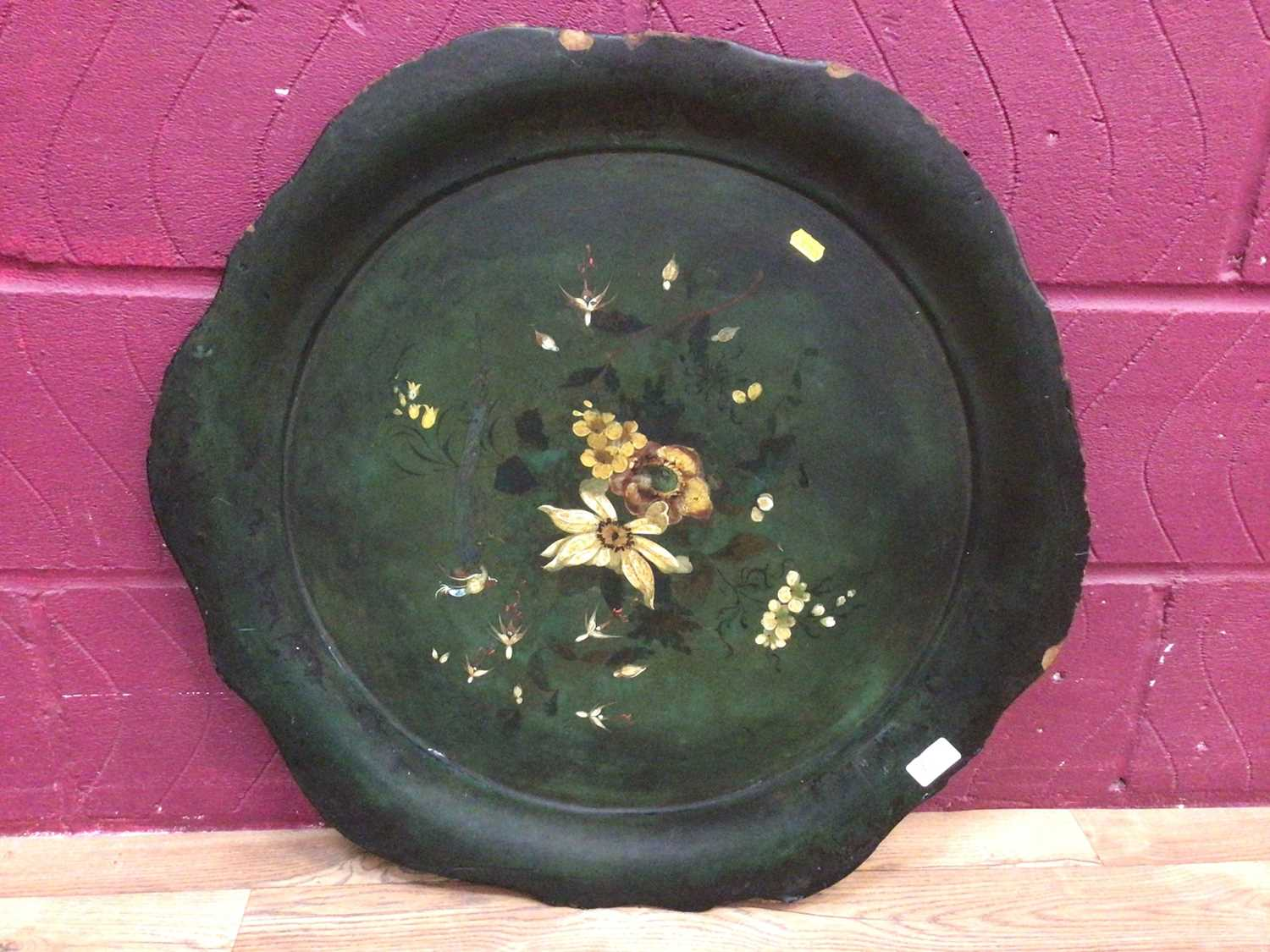Victorian stool on turned mahogany legs and a Victorian paper mache tray - Image 4 of 5