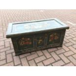 Old green painted pine blanket box with floral decoration 100cm wide x 48.5cm deep 43cm high