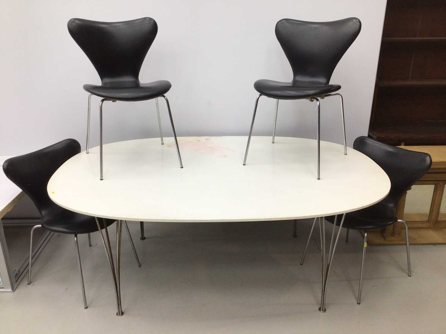 Fritz Hansen large dining table by Piet Hein on chrome legs 180cm x 122cm with a set of four Fritz H