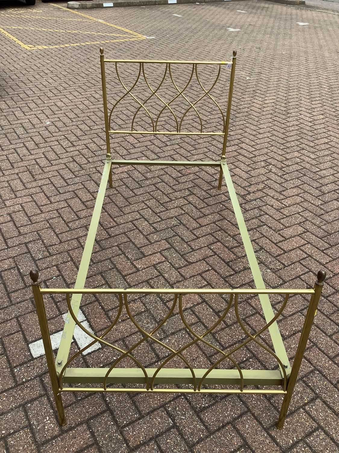 Brass single bed with side irons, 89cm wide - Image 2 of 11