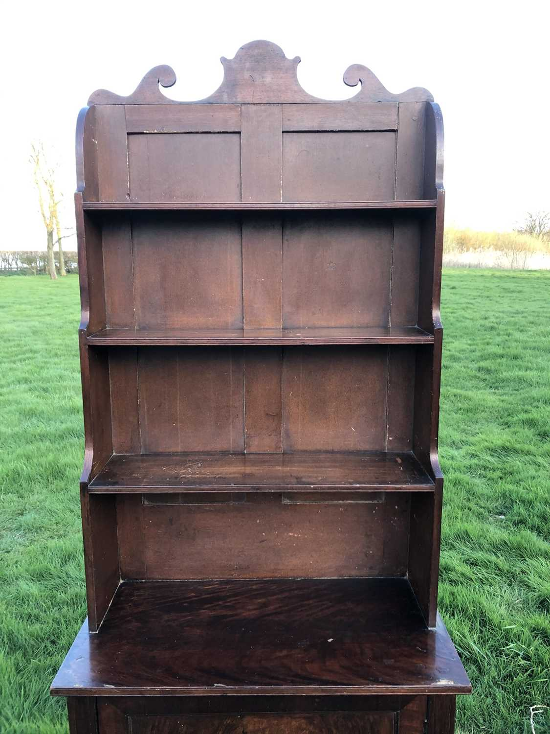 19th century mahogany and grained waterfall bookcase with scrolling top rail and graduated open shel - Image 7 of 7