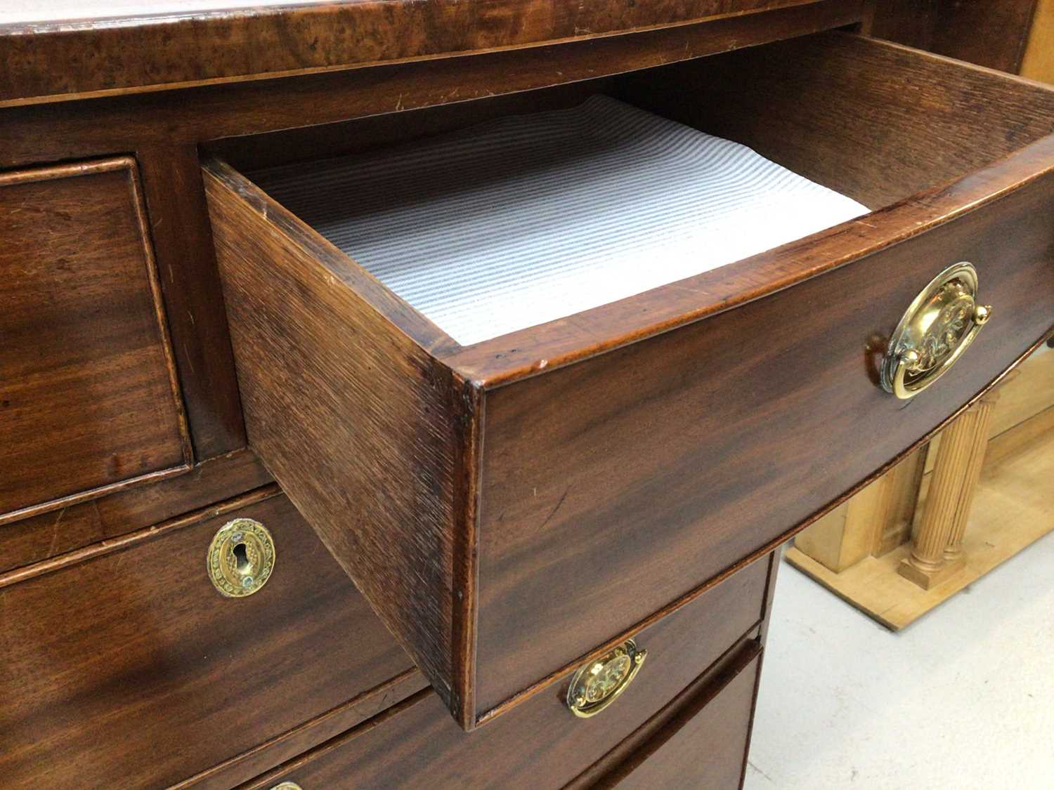 19th century inlaid mahogany bowfront chest of two short and three long graduated drawers on splayed - Image 6 of 6