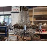 Ornate Regency style brass and crystal chandelier