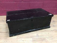 Victorian black painted pine trunk, brass fender and trivet