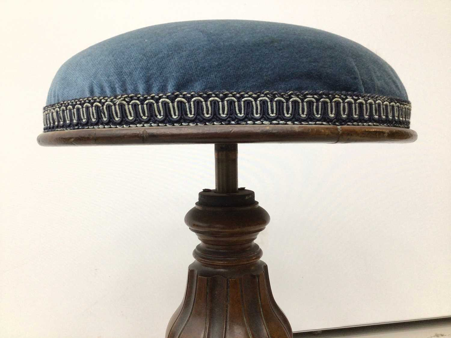Victorian mahogany piano stool with blue upholstered seat on tripod base and a tiled top table and a - Image 6 of 13