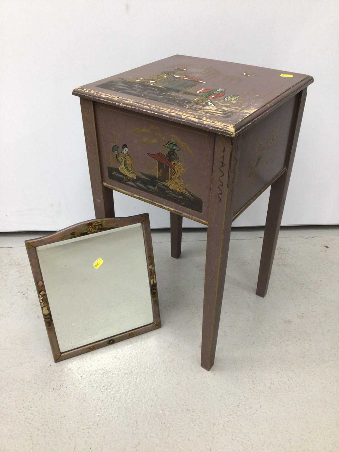 Oriental painted sewing table with mirror H63, W35.5cm mirror H35, W28.5cm