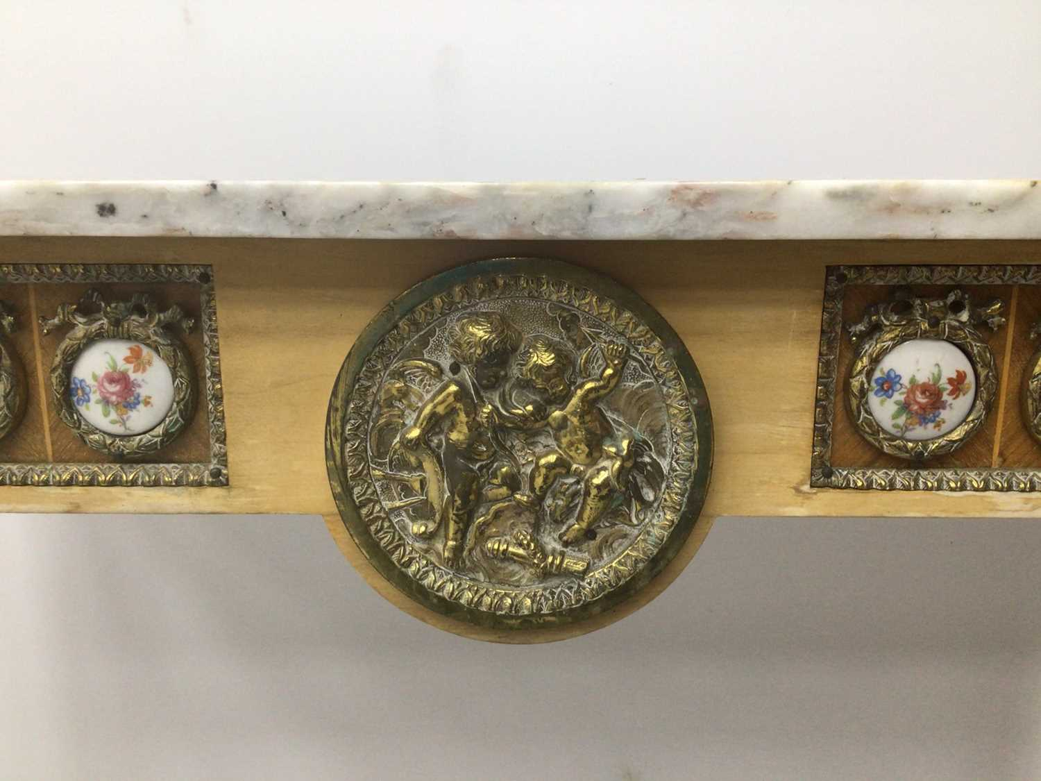 Antique style hall table with marble top, frieze inset with porcelain plaques on fluted turned legs - Image 4 of 7