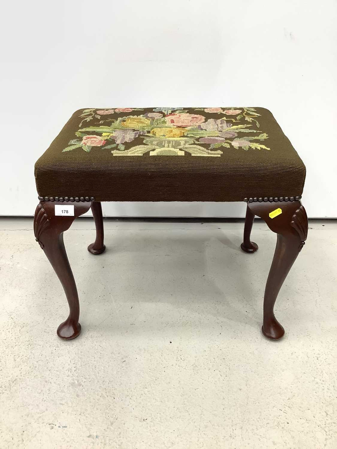 Good quality mahogany stool with floral tapestry seat on cabriole legs with shell knees, 52cm wide x - Image 2 of 6