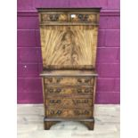 Good quality Georgian style mahogany secretaire chest with two top drawers, fall front with fitted i