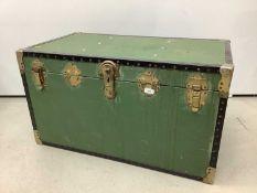Metal bound trunk, 91cm wide x 51cm deep x 50cm high