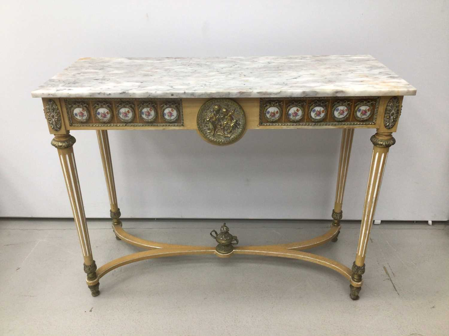 Antique style hall table with marble top, frieze inset with porcelain plaques on fluted turned legs