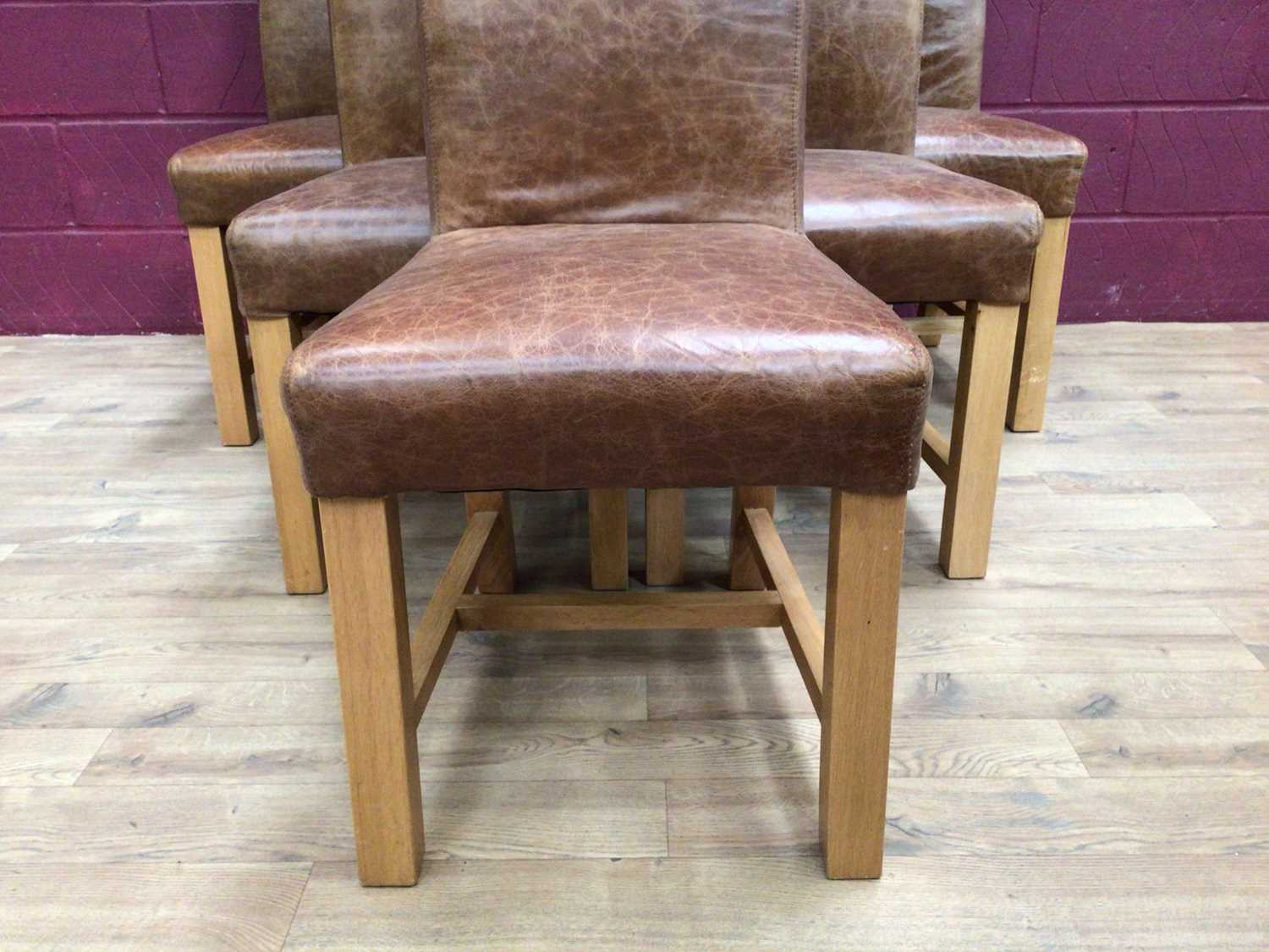 Set of six contemporary leather dining chairs - Image 4 of 5