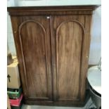 Victorian mahogany double wardrobe with two arched pannelled 155cm wide x 66cm deep x 210 cm high