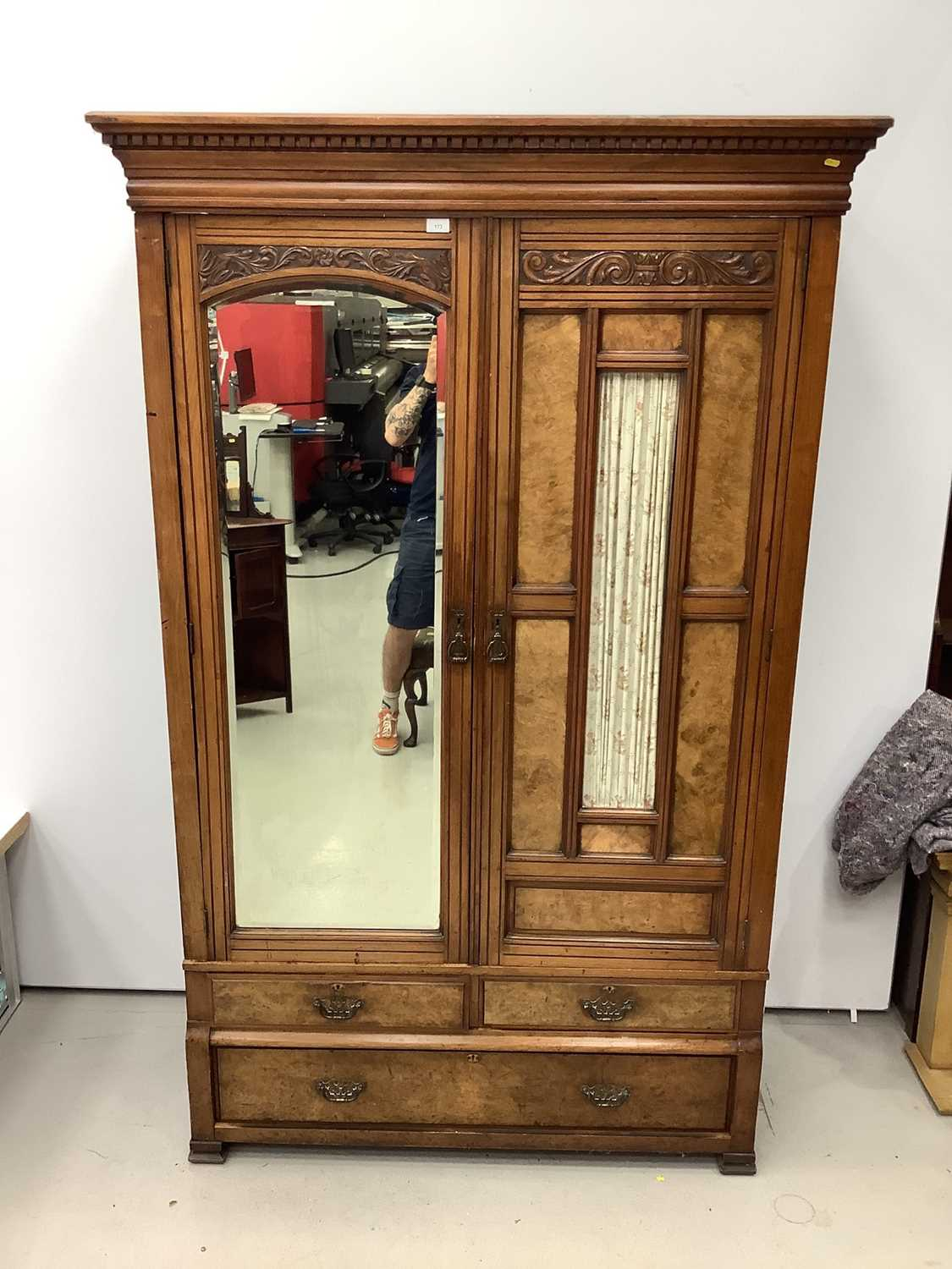 Late Victorian walnut double wardrobe enclosed by one bevelled mirror door and one glazed and panell - Image 5 of 7