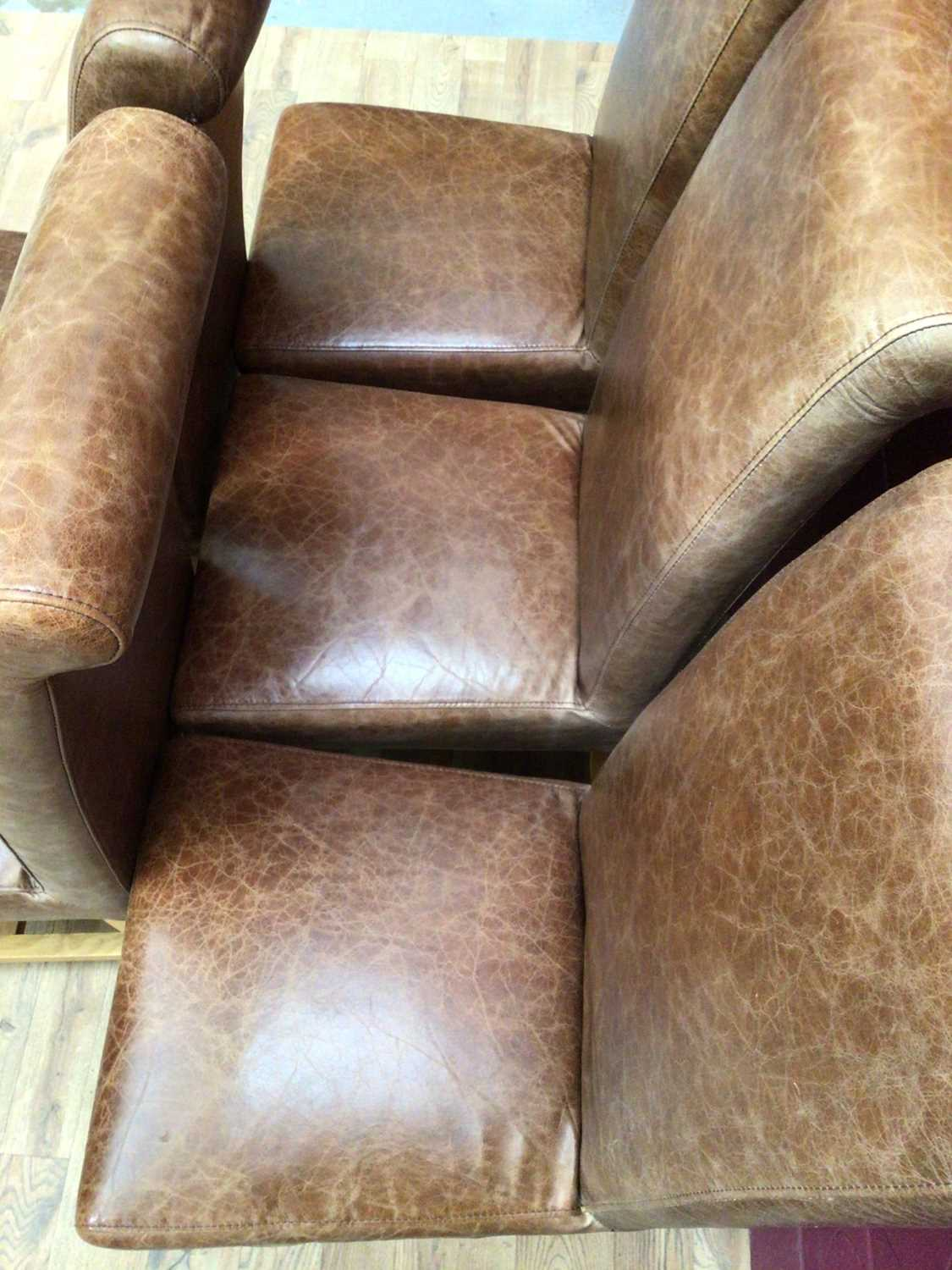 Set of six contemporary leather dining chairs - Image 5 of 5