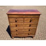Victorian mahogany chest with frieze drawer and a further two short and three long drawers below on