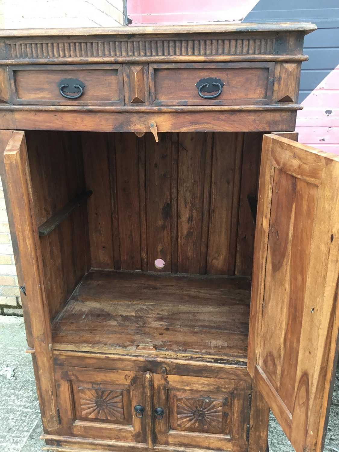 Eastern cupboard with two top drawers and four fluted and panelled doors below 89 cm wide, 163 cm hi - Image 3 of 3