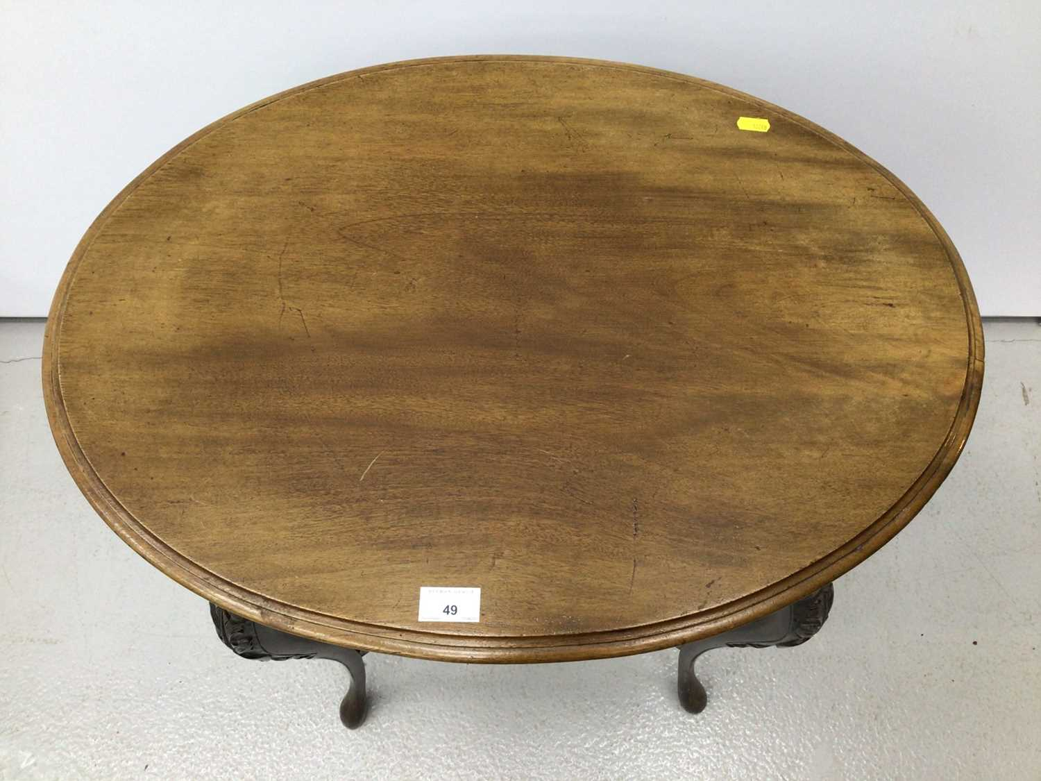 Edwardian mahogany oval occasional table on slender cabriole legs 68cm wide - Image 4 of 4