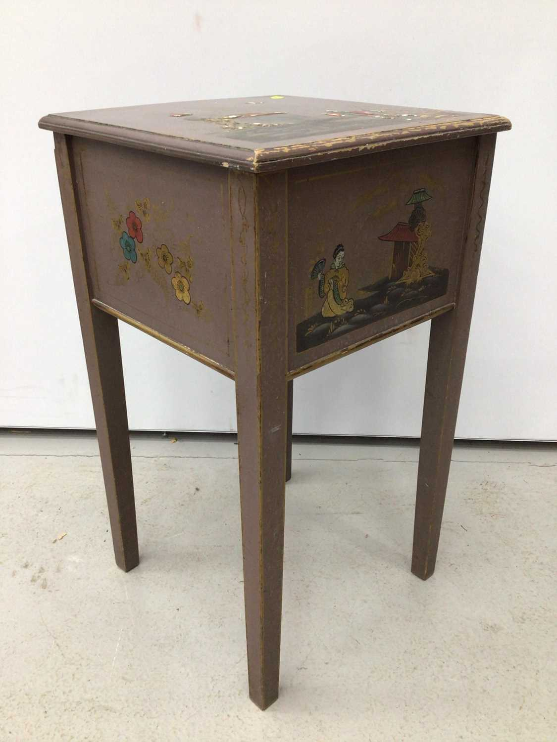 Oriental painted sewing table with mirror H63, W35.5cm mirror H35, W28.5cm - Image 5 of 5