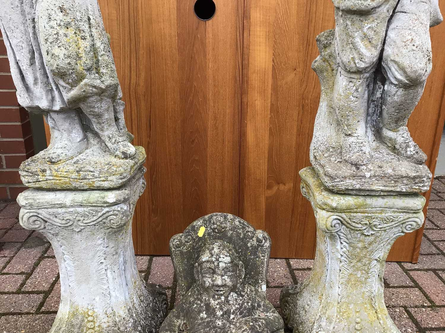 Pair of concrete figures on stands 126cm and 123cm and one other of a seated gnome 40cm - Image 4 of 7