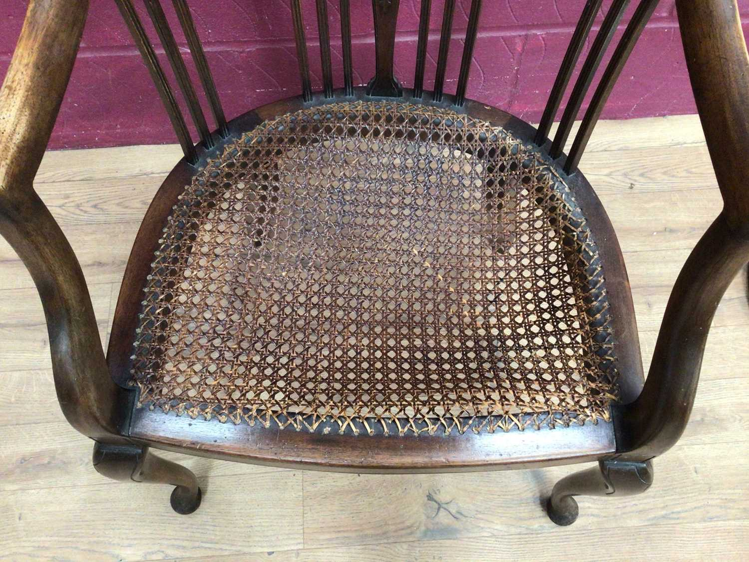 Edwardian mahogany tub chair with caned seat and a mahogany framed oval wall mirror (2) - Image 6 of 6