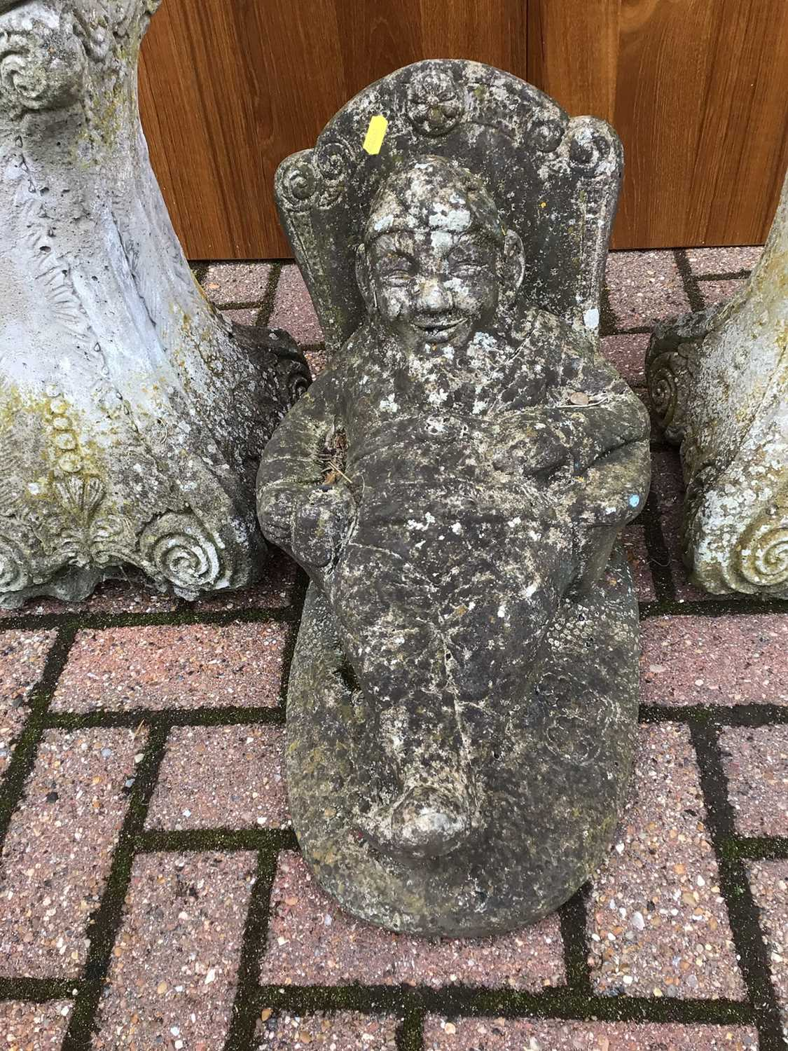 Pair of concrete figures on stands 126cm and 123cm and one other of a seated gnome 40cm - Image 7 of 7