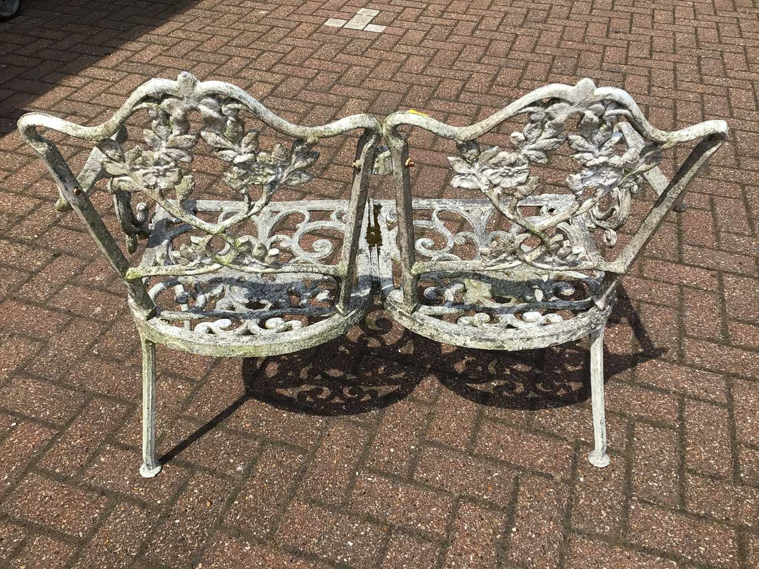 Aluminium two seater garden bench 91cm wide x 84cm high with a revolving office chair - Image 2 of 4