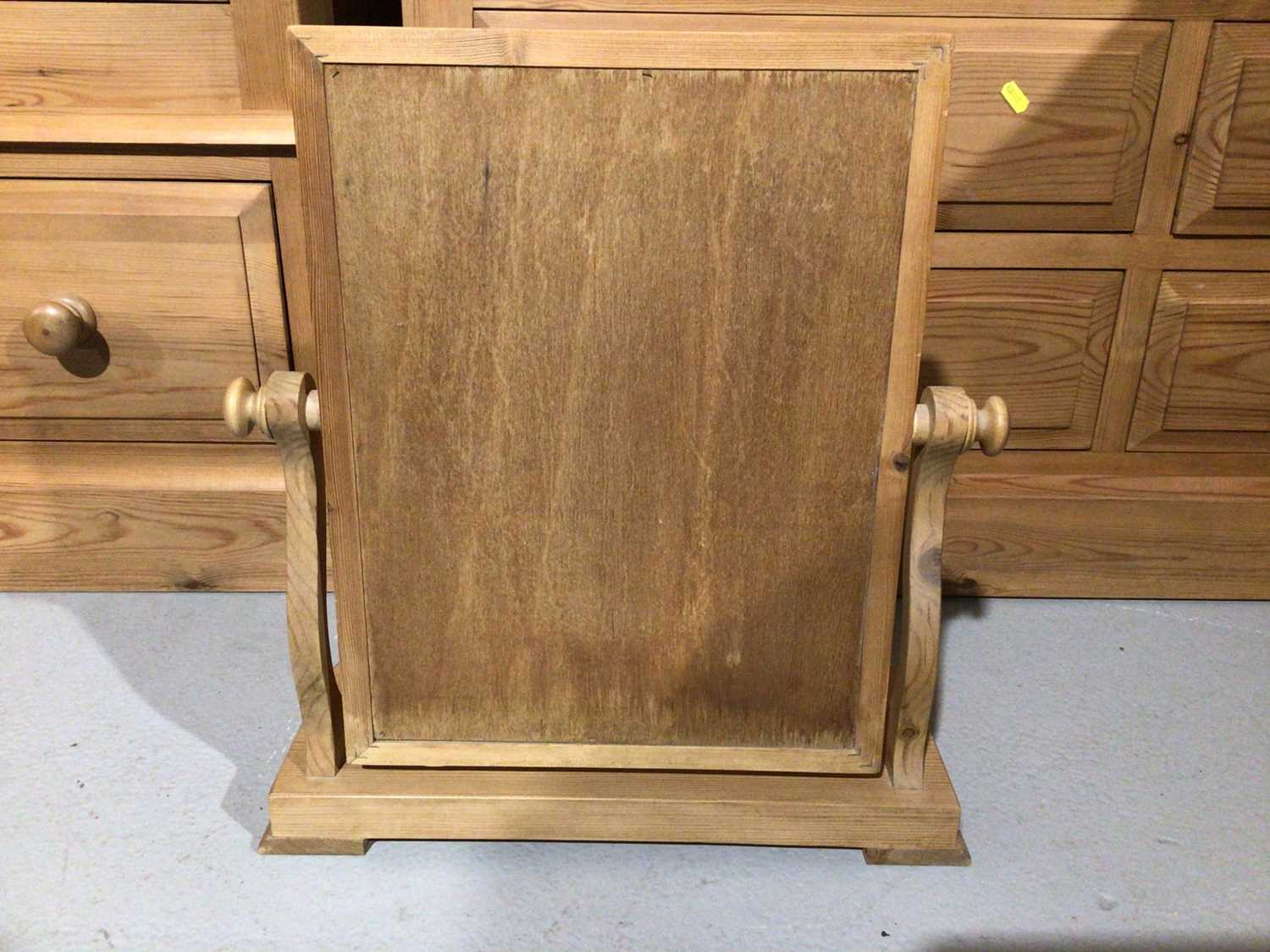 Pair of pine three drawer bedside chests and a pine dressing table mirror (3) - Image 6 of 8