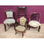 Victorian childs chair, together with two Victorian chairs, Mackintosh style stick back chair