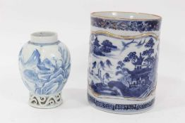 18th century Chinese tankard and 18th century Chinese blue and white tea canister