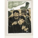 Penny Berry Patterson (1941-2021) colour linocut, Peter Grimes Returns, signed titled and numbered 1