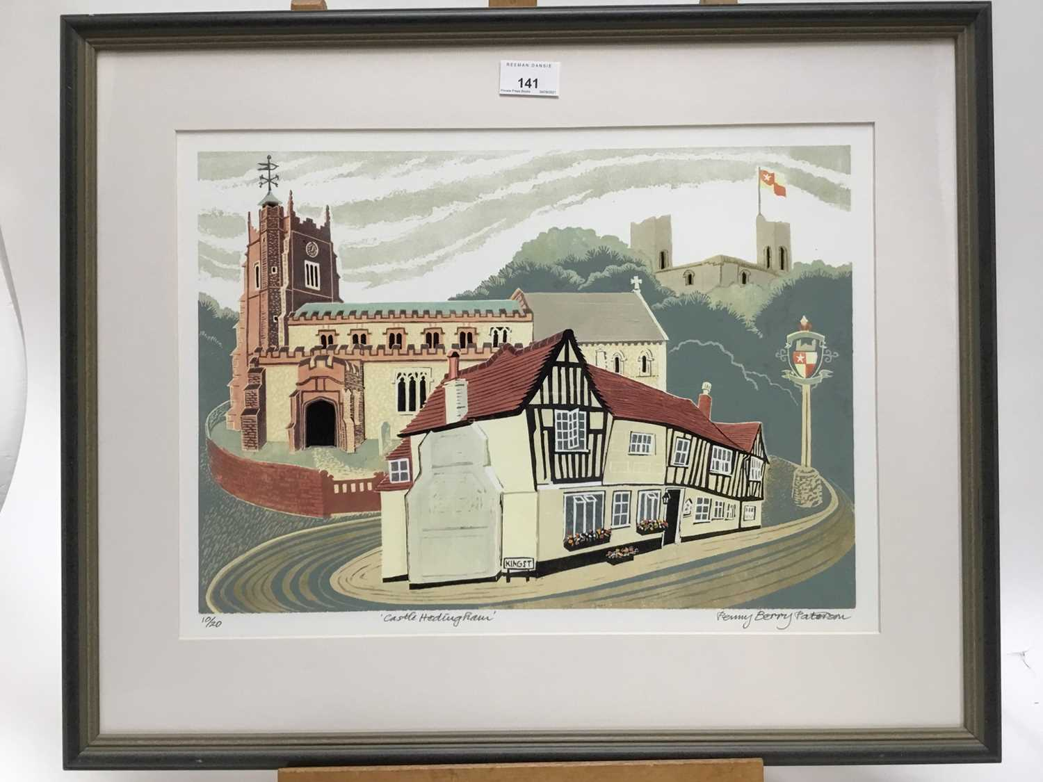 Penny Berry Patterson (1941-2021) colour linocut, Castle Hedingham, signed titled and numbered 10/20 - Image 5 of 6