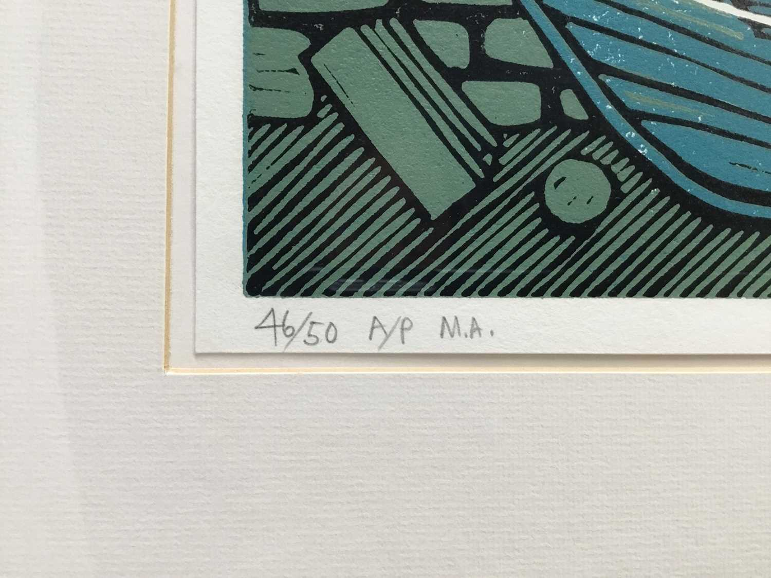 Nicholas Barnham (b. 1939) linocut in colours, Westing Unst, signed and numbered 46/50 A/P, 20 x 36c - Image 4 of 7