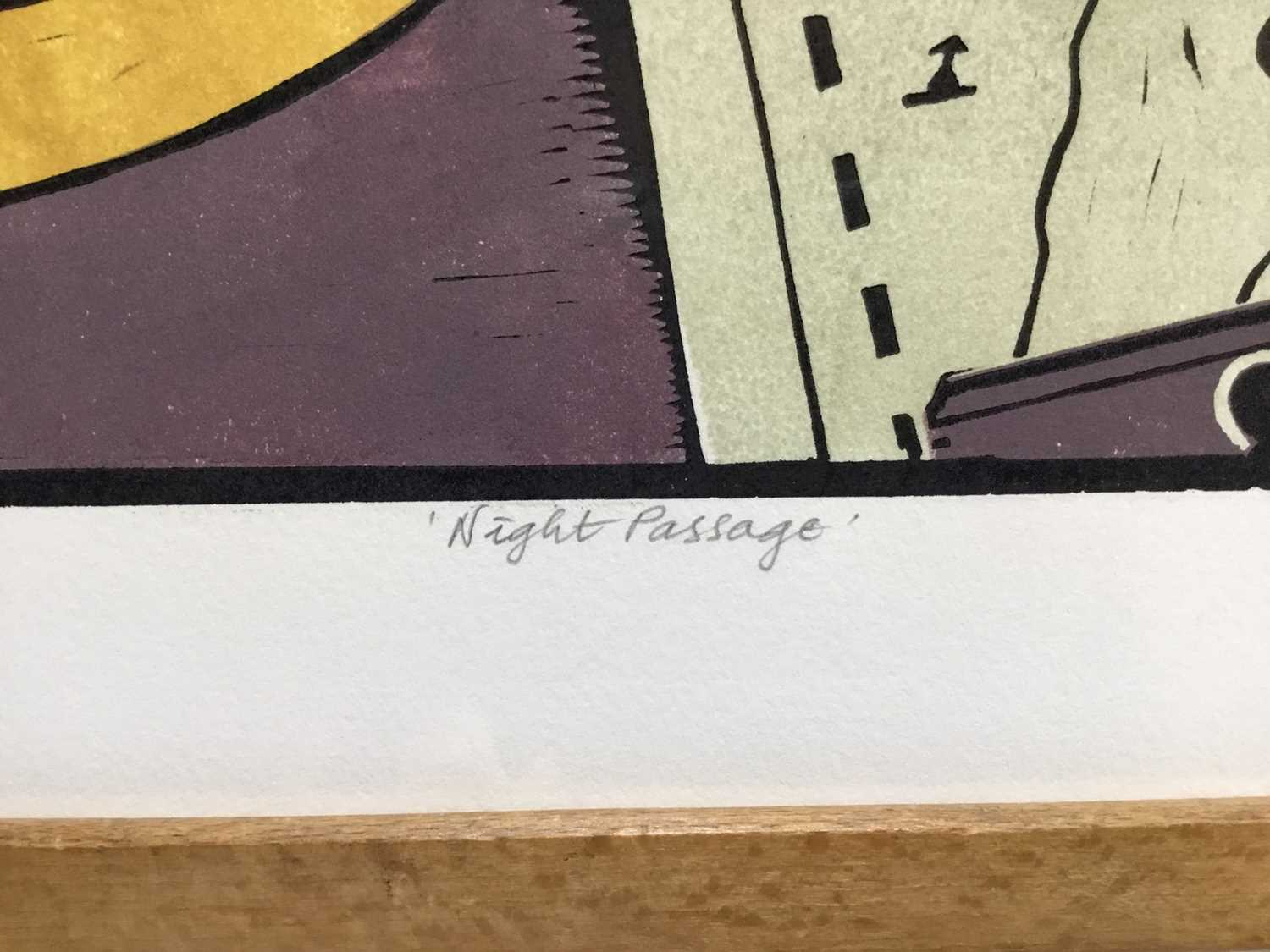 Penny Berry Paterson (1941-2021) coloured linocut print, Night Passage, signed and numbered 1/30, 33 - Image 3 of 4