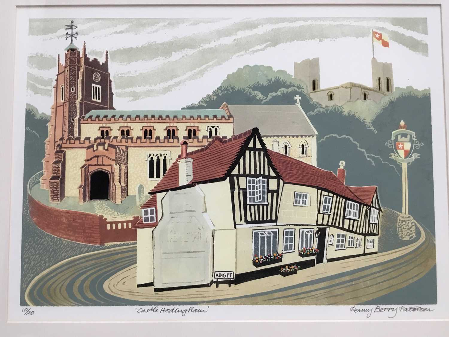 Penny Berry Patterson (1941-2021) colour linocut, Castle Hedingham, signed titled and numbered 10/20