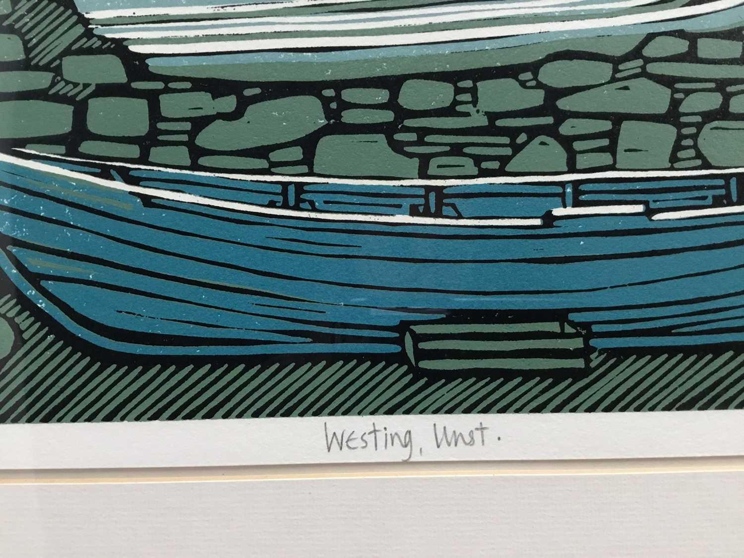 Nicholas Barnham (b. 1939) linocut in colours, Westing Unst, signed and numbered 46/50 A/P, 20 x 36c - Image 3 of 7