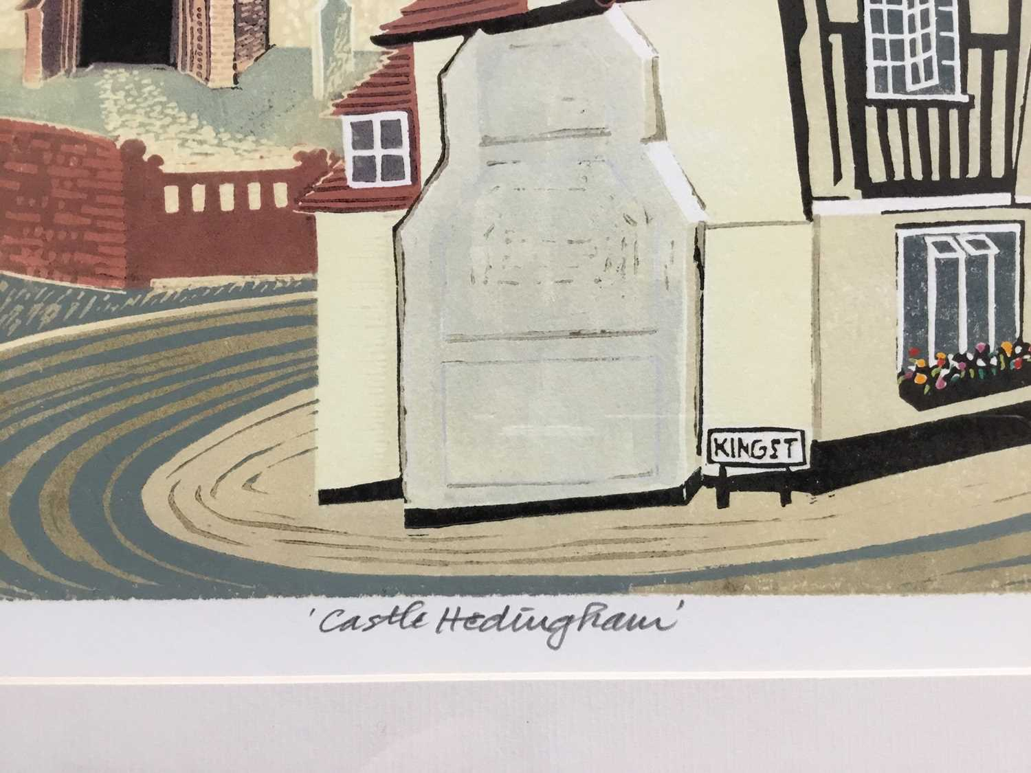 Penny Berry Patterson (1941-2021) colour linocut, Castle Hedingham, signed titled and numbered 10/20 - Image 3 of 6